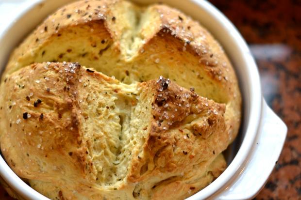 golden, herb-studded loaf