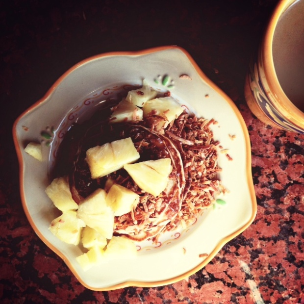 tropical pancakes, best served with mug of strong coffee